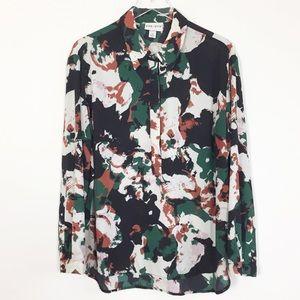 Ava & Viv green black floral popover top plus 1X